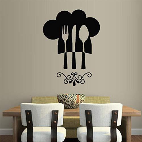 Cuchara cuchillo y tenedor calcomanías de pared cocina restaurante decoración pared gorro de chef arte gráfico vinilo pegatinas de pared creativo