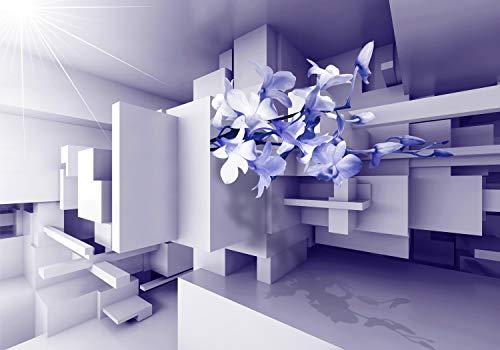 wandmotiv24 Fototapete Orchidee 3D Lila XXL 400 x 280 cm - 8 Teile Fototapeten, Wandbild, Motivtapeten, Vlies-Tapeten Blumen, Raumerweiterung M1899