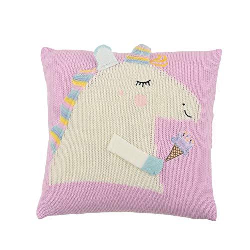 Vosarea Fundas de cojín Unicornio Funda de cojín Cuadrado para sofá-Cama de diseño de Dormitorio (Rosa)