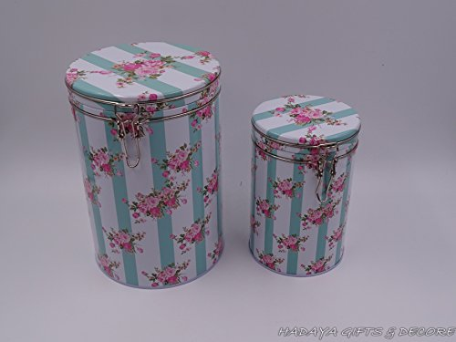 floral Cookie Storage Tins, Shabby Chic, Floral Design with Airtight Lid, Set of 2