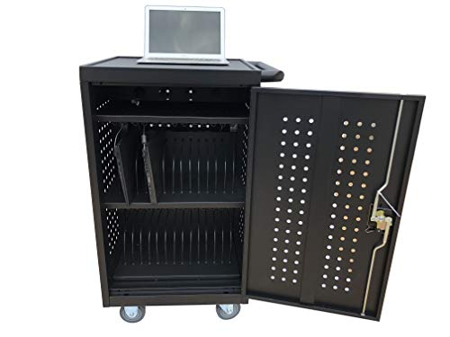 ALT Technology 30-Bay Mobile School Charging Cart Station for Chromebook Tablet and Laptop Computer with Power Strip Included Assembly Required