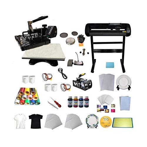 INTBUYING 5in1 Multi-Function Heat Press Transfer Machine Vinyl Cutter Plotter Inkjet Paper HTV Plates Mug Tape Inks Software Business Package