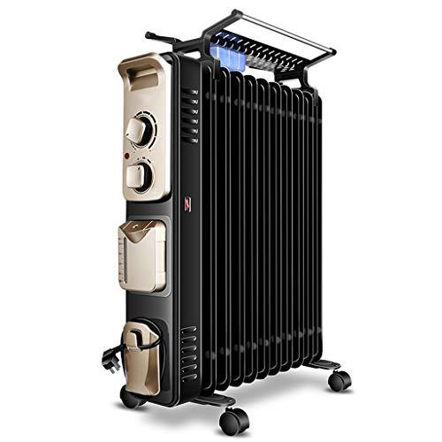 liangzishop Calefactor eléctrico Aceite eléctrica Llenado del radiador, Portátil habitación Completa Radiante Calentador con termostato Ajustable, Negro Calentador Portable