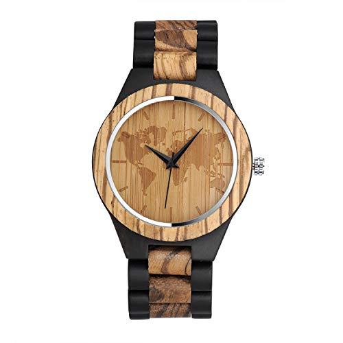 Infinito U- Reloj Redondo de Madera para Hombre Hecho a Mano en Madera de bambú con Movimiento de Cuarzo Analógico Relojes Lujoso Moda Casual Idea Regalo Navidad
