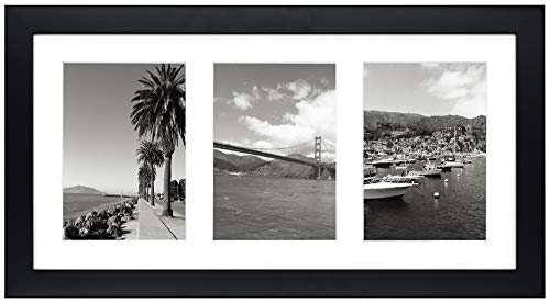 Golden State Art, 9x18 Black Wood Frame - White Mat for Three 5x7 Pictures - Sawtooth Hangers- Swivel Tabs - Wall Mounting - Landscape/Portrait - Real Glass - Collage Frame