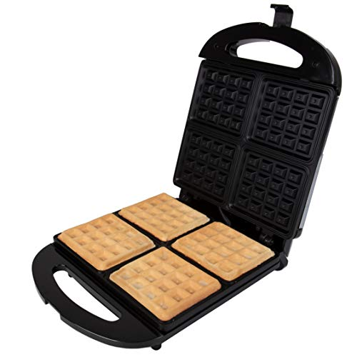 Four Slice Waffle Maker - 4 Square Non-Stick Stainless Steel Waffler Griddle Iron with Browning Control