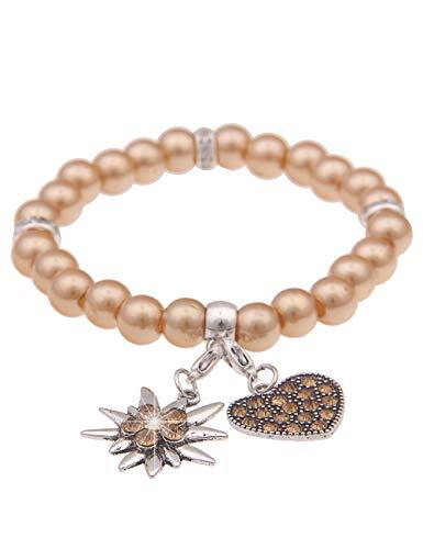 Leslii Damen-Armband Herz-Anhänger Edelweiß Oktoberfest Wiesn Dirndl braunes Perlen-Armband Dirndlarmband Hell-Braun