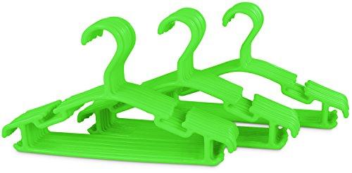 Grinscard Kinder Kleiderbügel 30er Set - Kunststoff Grün - Kinderzimmer Bügel 30 Stück für Kindermode & Babykleidung