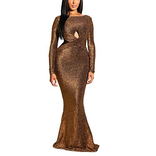 ZHANSANFM Damen Kleid Sexy Halter Hohles Abendkleid Meerjungfrau Mesh Maxikleider Taillen-Kleid Festlich Hochzeit Cocktailkleid Elegant Einfarbige Langarm Ballkleid Lang (2XL, Braun)