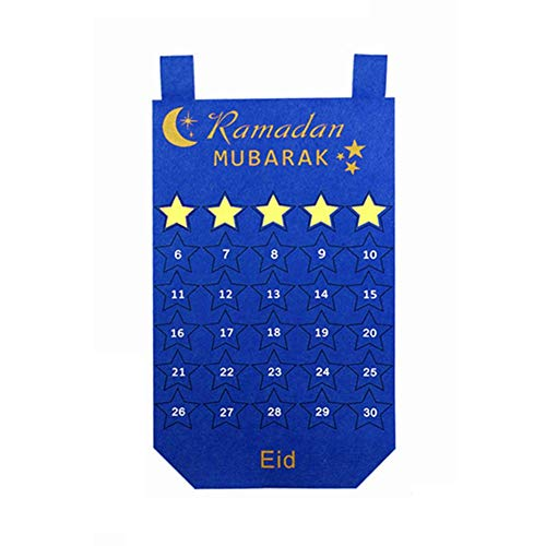 TARTIERY Ramadan Countdown 2019, handgefertigter Filz Ramadan Eid Countdown Kalender 30 Tage Adventskalender Wandbehang Ramadan Feiertagsdekoration, lila Halbmond für Kinder blau