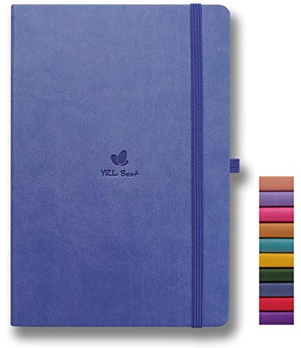YRL Best Hardcover Notebook with Pen Holder, A5 Writing Journal, 5.7x8.3', College Ruled/Lined, 192 Numbered Pages of Premium Thick Paper, Fine PU Leather, Sewn Bound, Elastic Closure, Lavender Blue