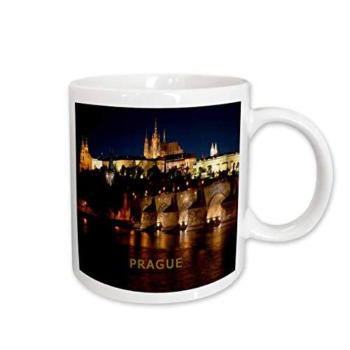 3dRose Tasse 80864_ 2Prag Tschechische Republik bei Nacht Keramik Tasse, 15-Ounce