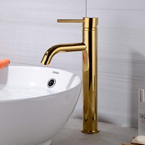 YHSGY Baño Grifos De Lavabo Altos Mezclador De Agua Fría Y Caliente Lavabo De Lavabo Grifo De Cocina De Agua Dorada Robinet Salle De Bain