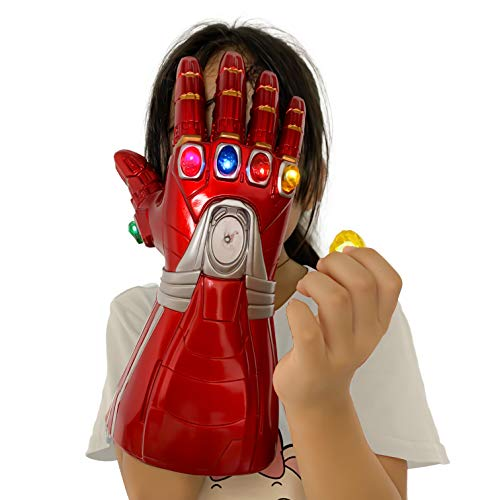 Revenge 4 Infinity Gauntlet Glove, Iron Man Glove LED Light up with Removable Magnet Infinity Stones-3 Flash Mode. (red)