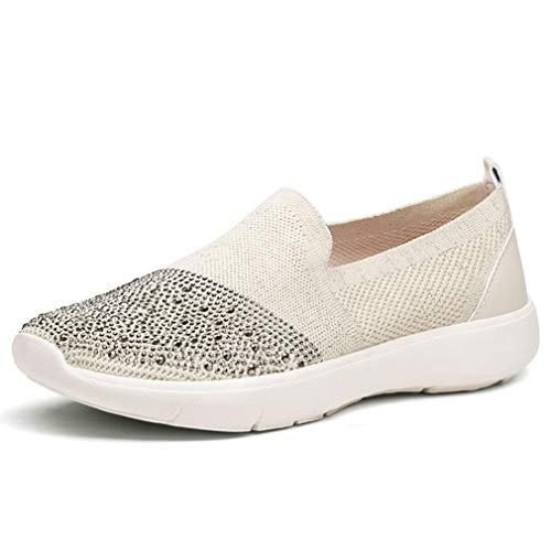 Dames Platform Dikke Sneakers Sport Running Fly Knit Crystal Shoes Ademende Mesh Instappers Loafers Jogging Fitness Gymtrainers