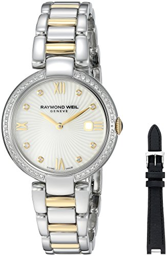 RAYMOND WEIL WOMEN'S SHINE DIAMOND 32MM STEEL CASE QUARTZ WATCH...