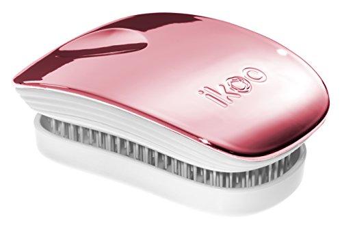 ikoo Pocket White Metallic - Detangler Bürste, Haarbürste für die Handtasche, Brush, weiche Borsten, Entwirrbürste für lange Haare, Massage Wet Brush, Entwirrungsbürste, einfaches Entwirren der Haare