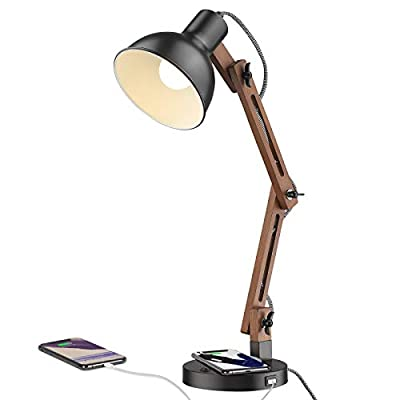 ELYONA Swing Arm Desk Lamp, Wood Table Lamp with Wireless Charging & USB Charging Port, Adjustable Office Lamp, Black Modern Reading Lights for College Dorm, Study, Living Room, Bedroom