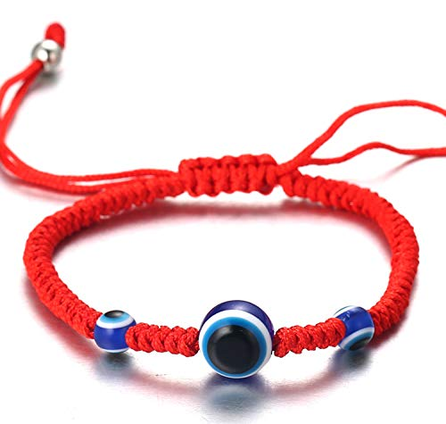 Halukakah Mal de Ojo Pulsera para Mujer Hombre Trenza Hecha a Mano Tres Cuentas de Ojos Azules Hilo Rojo Trenza Hecha a Mano Pulsera Tamaño Ajustable Protección Joyas Mal de Ojo con Caja de Regalo