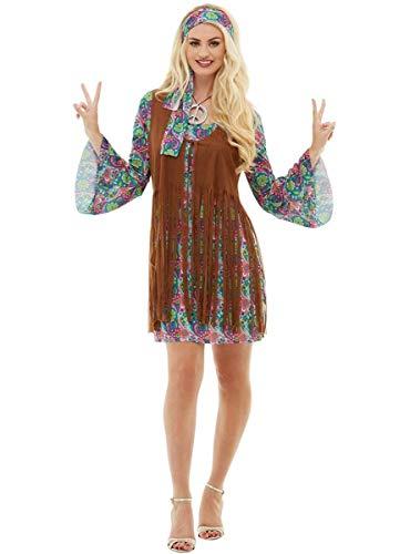 Funidelia   Disfraz de Hippie para Mujer Talla L ▶ Años 60, Hippie, Flower Power, Décadas - Color: Multicolor - Divertidos Disfraces y complementos para Carnaval y Halloween