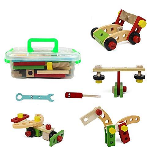 Symiu Montessori Spielzeug Holzbausteine Bauklötze Werkbank Werkzeugkoffer Holzspielzeug Kinderspielzeug Lernspiele ab 3 4 5 Jahren Geschenk für Mädchen Jungen Kinder