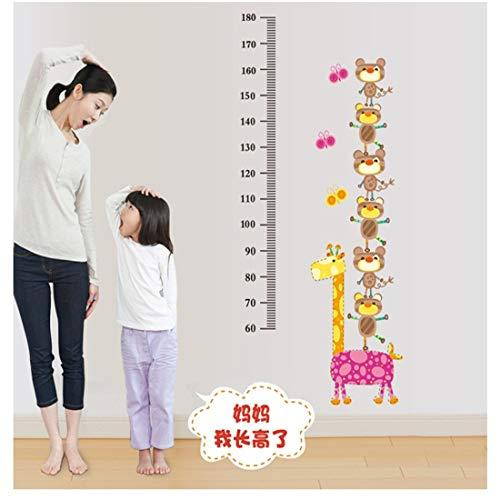 Abnehmbare Wandaufkleber, Kinderhütte, Cartoon-Babygröße, Höhenlineal, Wanddekoration, Aufkleber, Tierhöhenaufkleber.