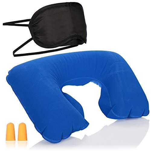 com-four® 3-teiliges Reise-Set - aufblasbares Nackenkissen, Augenmaske und Ohrstöpsel - Reisezubehör für Flugzeug, Auto, Bus und Bahn (blau)