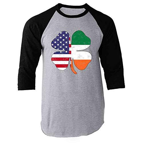 Pop Threads Irish American Flag Shamrock St. Patricks Day Black XL Raglan Baseball Tee Shirt