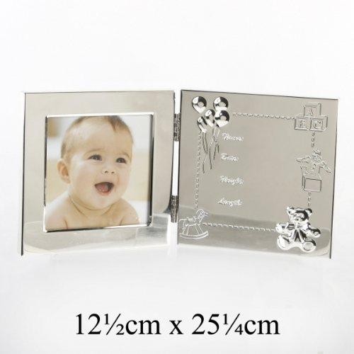 Bilderrahmen doppelt mit Geburtsdatengravur als Geschenk zur Geburt
