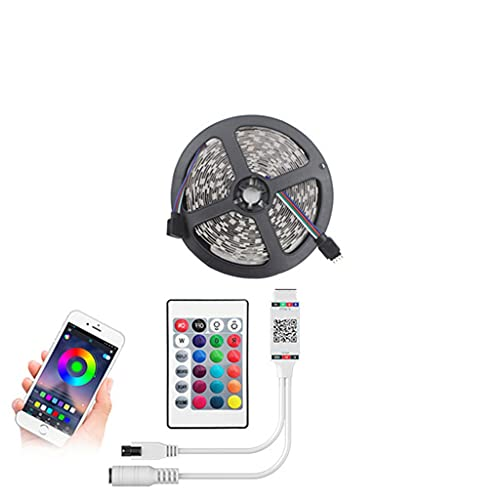LANDUA Tira de Luces LED Bluetooth RGB 2835 5050 SMD Cinta Flexible Impermeable Luz LED RGB DC 12v 5m Juego Completo (Color : Bluetooth, Size : 5050 Non Waterproof)