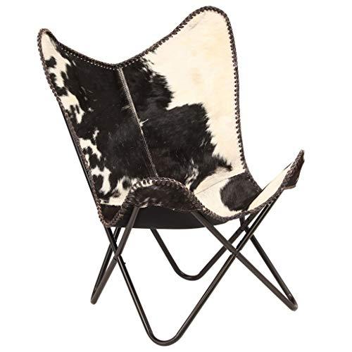 Festnight Estilo Vintage Silla de Mariposa de Piel de Cabra Auténtica Completamente Hecha a Mano Negra y Blanca 74 x 66 x 90 cm