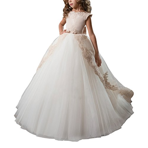 ABAO SISTER Fancy Flower Girl Dress Satin Lace Pageant Ball Gown Champagne Size 8