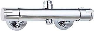 Grifo termostático de ducha bañera de pared con dos salidas altas y bajas de latón candado redondo, grifo mezclador termostático para cuarto de baño