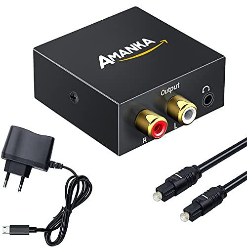 Convertisseur 192kHz DAC, AMANKA DAC Adaptateur Audio Numérique vers Analogiqu, Digital SPDIF Optique Coaxial Toslink vers vers Audio Stéréo L/R RCA Jack 3,5mm pour PS3 Xbox DVD Blue Ray Sky HD TV