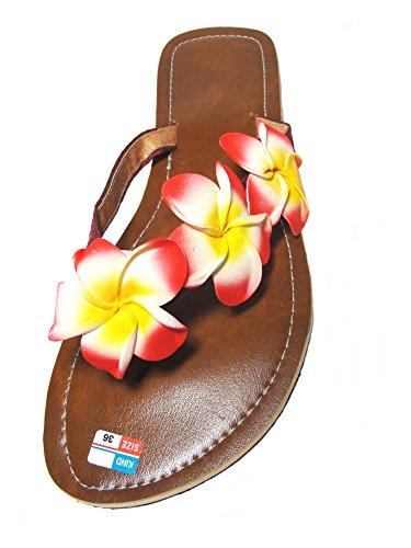 Damen Flip Sandale Hibiskus Blüten Zehentrenner Zehenpantolette Sommersandale Zehenstegsandale