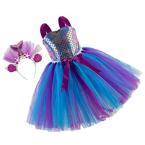 SOIMISS One- Piece Sereia Tutu Vestido Com Headband Do Bebê Menina Princesa Gaze Tutu Saia Roupas para Crianças Criança Traje Cosplay Presentes de Aniversário (Cores Sortidas)