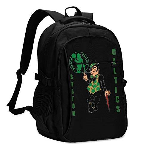 Mochila para portátil de Viaje, BostO Celtics Mochila para portátil de Viaje Mochila Escolar Bolsa para Exteriores con Puerto de Carga USB Mochilas antirrobo para Hombres y Mujeres