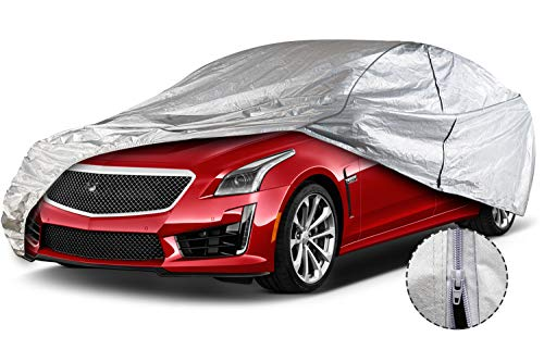 Leader Accessories Car Cover Aluminium +Cotton Driver Door Zipper UV Resistant Sedan Cover for Cars Length Up to 228''