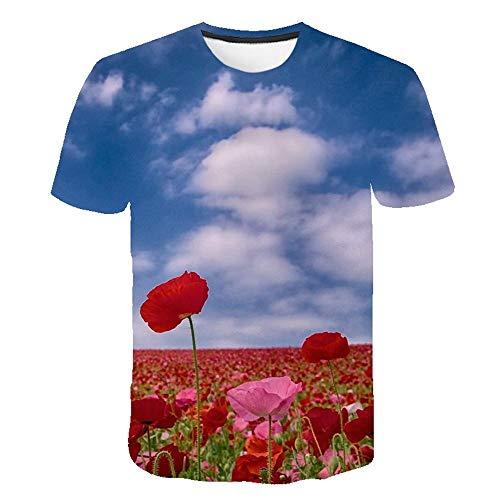 Tulipe Rose Fleur T Shirt Hommes Streetwear Été 3D Imprimer Hommes T Shirt Drôle Hip,Hop Casual O,Neck Tops À Manches Courtes S,6XL,Couleur4 L