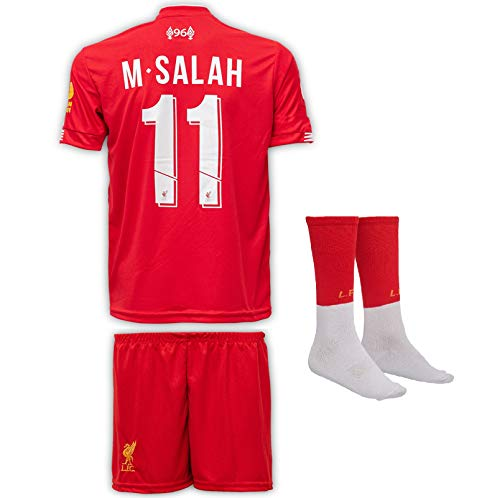JTex Liverpool 2019-20 Salah - Camiseta de manga larga para niños con pantalones cortos y calcetines (tallas 2-14 años), 140 (6-7 Alter)