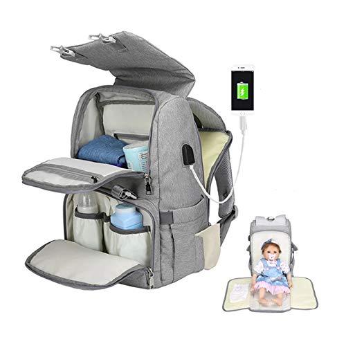 GYNFJK Bolsa de pañales de bebé de Maternidad USB para mamá, Organizador de Mochila para mamá, Bolsas de bebé de Maternidad para mamá, Bolsa de pañales para Cochecito