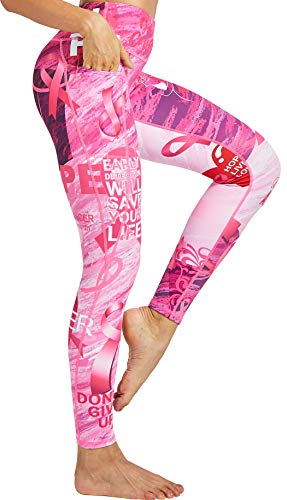 COOLOMG Sport Damen Leggings Yoga Hose Sporthose Fitnesshose Laufhose lang mit Taschen Rosa XL