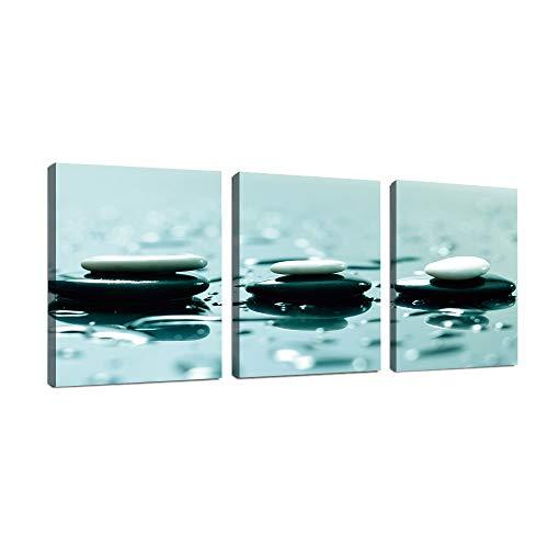 3 Paneles Cuadro De Pintura Arte de pared de piedras Zen relajantes Impresiones de arte de pared decorativas para sala de estar decoración del hogar regalo de pintura 30 * 40 cm(Con marco de madera)
