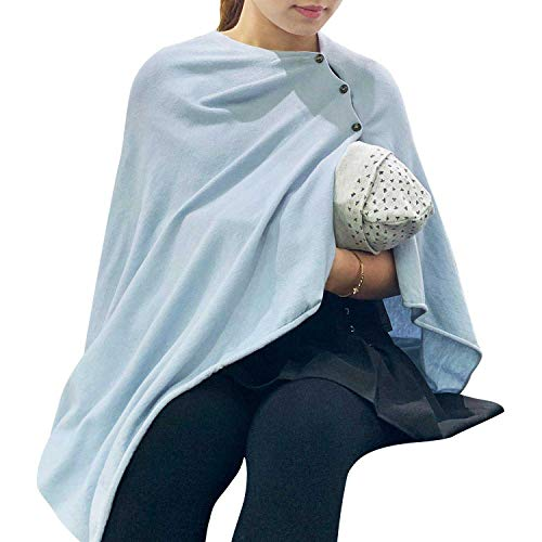 %62 OFF! Nursing Cover Poncho for Breastfeeding Adjustable Knitted Nursing Scarf with Button Closure...