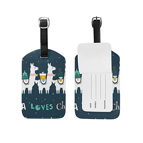 Luggage Tag Llama Loves Christmas Suitcase Travel Baggage Tag Leather 1 Piece