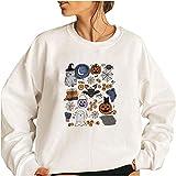 Wave166 Disfraz de Halloween para mujer, jersey de gran tamaño, casual, holgado, ligero, blusa, tops monocromáticos, camisetas deportivas., 1 blanco., L