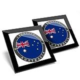 Impresionante juego de 2 posavasos de cristal, Australia Canberra City Capital Travel Glossy calidad posavasos/protección de mesa para cualquier tipo de mesa #5084