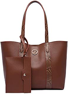 Zeneve London Alice Tote Bag Set for Women - Brown