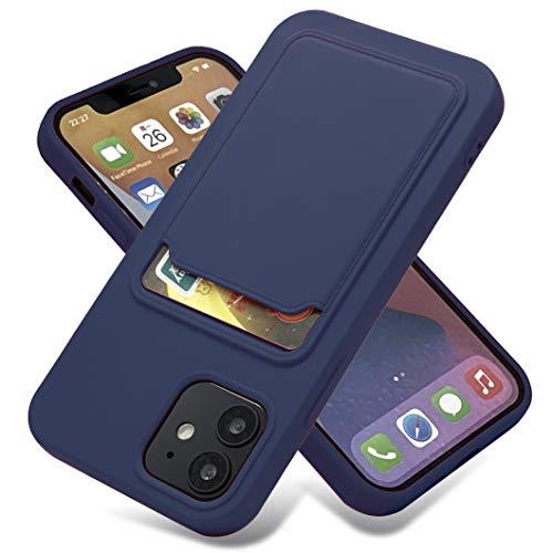 Billion Good Funda tipo cartera para iPhone iPhone 12 Pro con tarjetero, silicona suave a prueba de calcetines, funda protectora para Apple iPhone iPhone12 Pro de 6.1 pulgadas, azul báltico