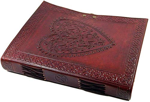 Leather World Ltd. Large Vintage Heart Embossed Leather Journal/instagram Photo Album (Handmade Paper) - Coptic Bound with Lock Closure